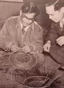 Upendra Maharathi (left) learning bamboo work from a Japanese master