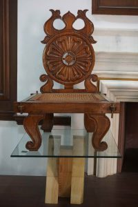 A classical Mauryan chair designed by Upendra Maharathi for use in a Buddhist monastery