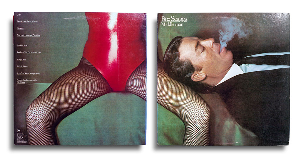 Vinyl: Boz Scaggs, Middle Man, Columbia - FC 36106, United States, 1980. Photograph by Guy Bourdin. Designed by Nancy Donald.