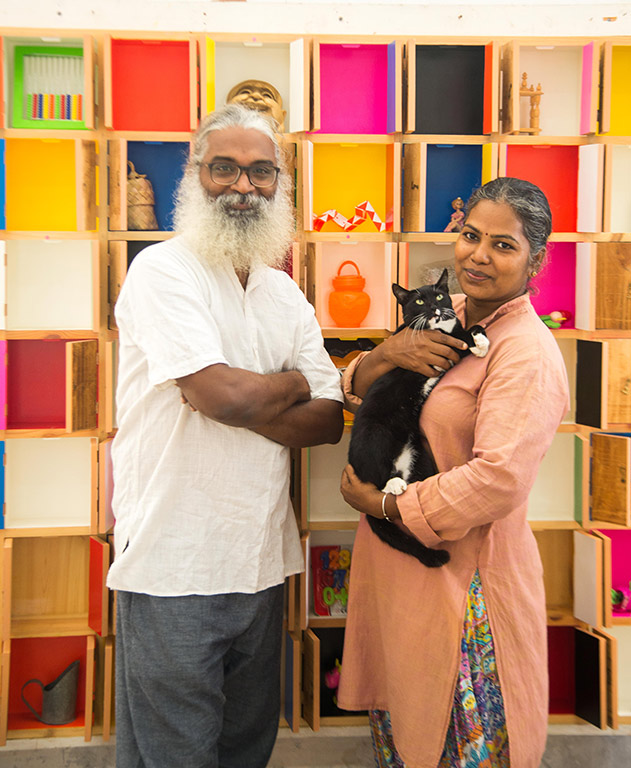 Artist-couple V Anamika and N Ramachandran studio space Chennai Cholamandal Artists Village