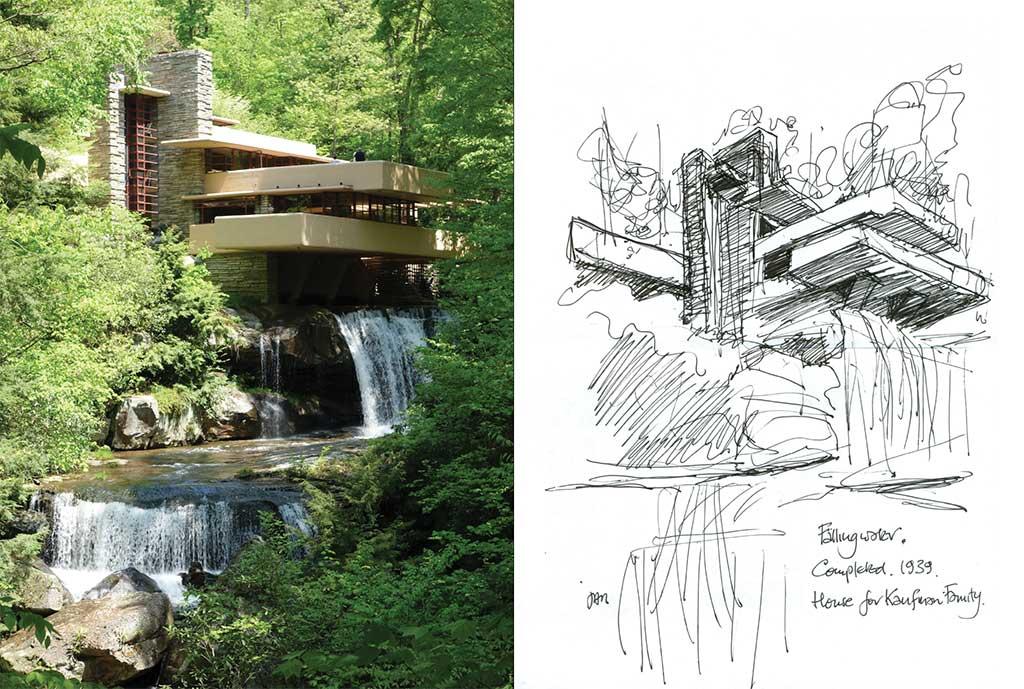 Fallingwater (Kaufmann Residence) by Frank Lloyd Wright.