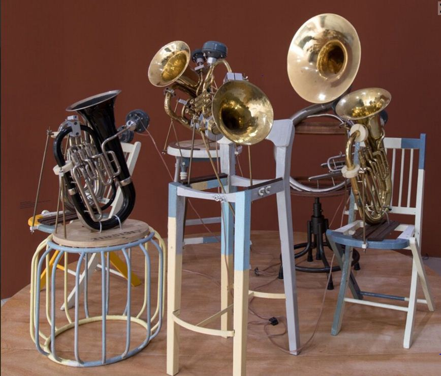 Navin Thomas, The Weather Report in Three Parts by the Phantom Orchestra, Reclaimed Wood, Brass, Collection: KNMA